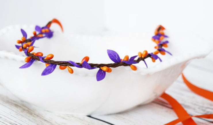 Handcrafted Orange and Purple Simple Crown