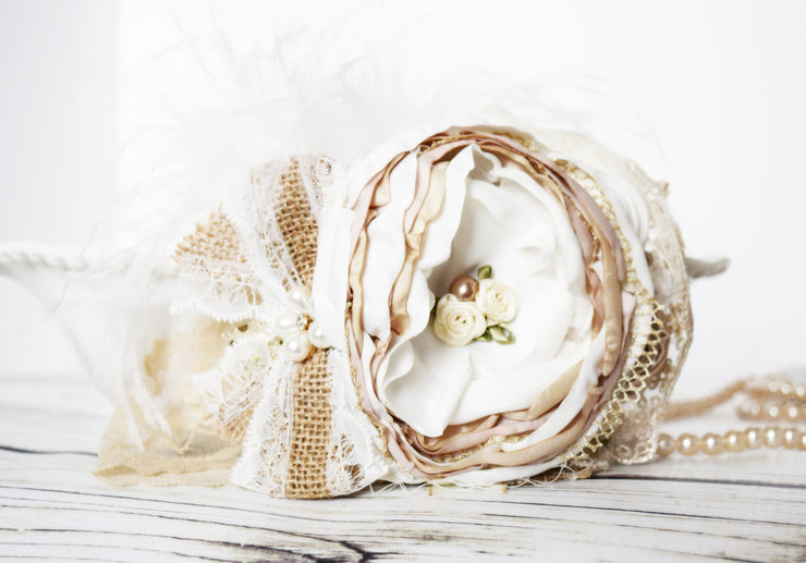Country Flower Girl Fancy Headband Ivory Gold White Beige Tan Ostrich Feather Over the Top Bows Couture Haute Burlap Headpiece Baby Girl Headpiece Vintage Style