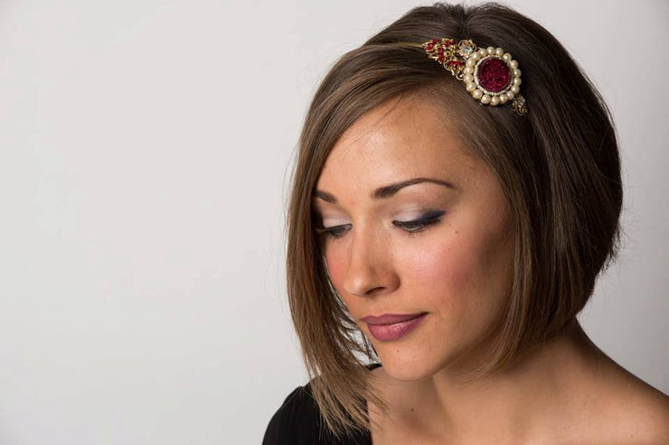 Garnet Red and Gold Pearl Bridal Vintage Jewelry Collection Headband