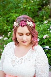 Handcrafted Blush Gold Burgundy and Tan Flower Crown