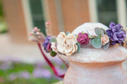 Handcrafted Eucalyptus Plum Tan Blush Flower Girl Crown