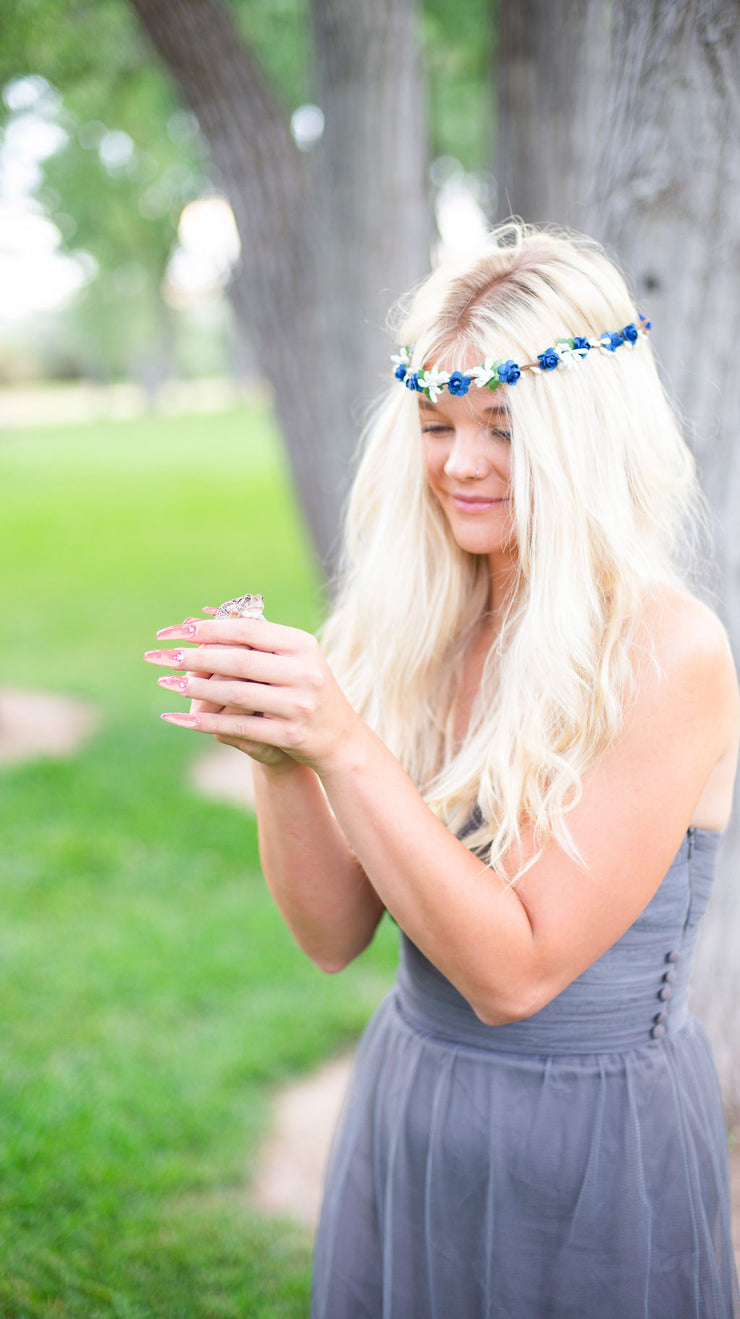Handcrafted Royal Blue and White Berry Flower Crown