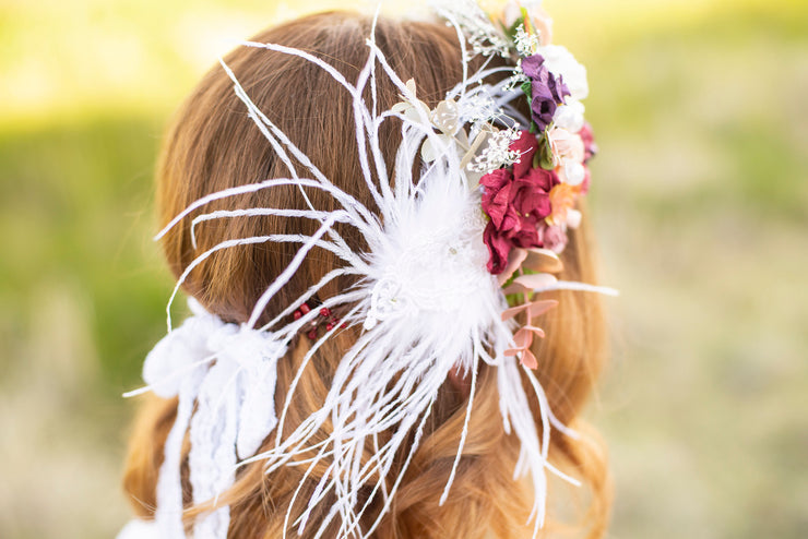 1920s Statement Vintage Bridal Flower Crown Succulent Wedding Hair Wreath Adult Accessory Feather Babys Breath Boho Bride Lace