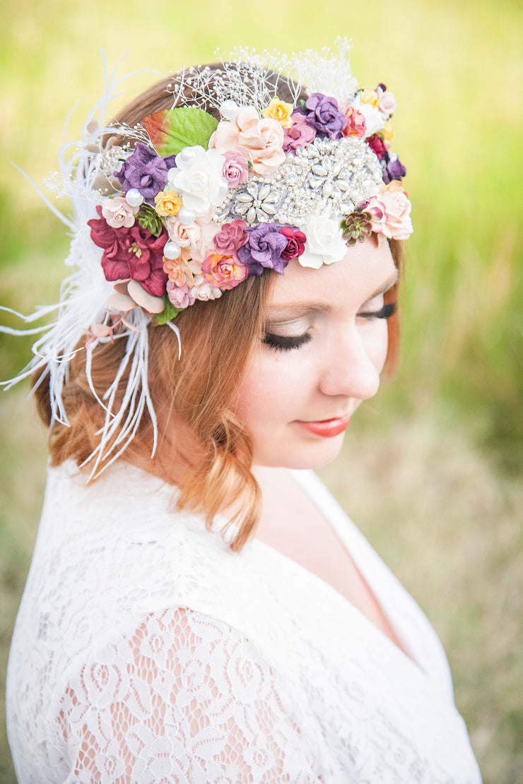 Statement Vintage Bridal Flower Crown Succulent Wedding Hair Wreath Adult Accessory Feather Babys Breath Boho Bride Lace