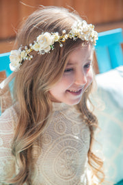 Handcrafted Ivory Baby's Breath Pearl Flower Crown