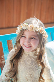 Handcrafted Peach and Ivory Baby's Breath Flower Crown