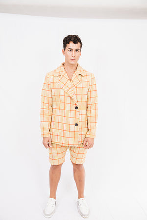 Rickey W. Mustard Check Shorts
