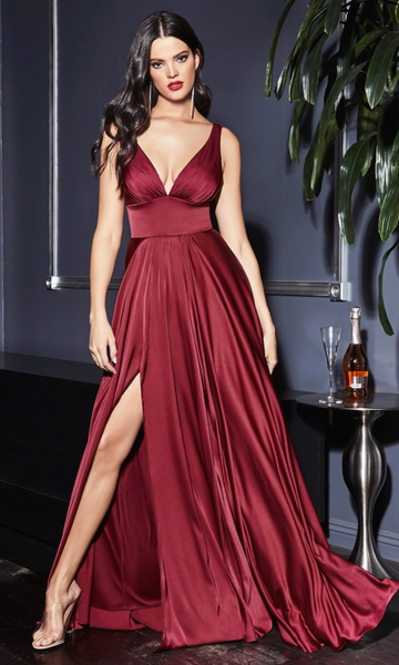Satin A-line Evening Gown- Burgundy