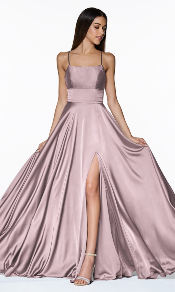 Cinderella Divine A-Line Satin Gown- Dusty Rose