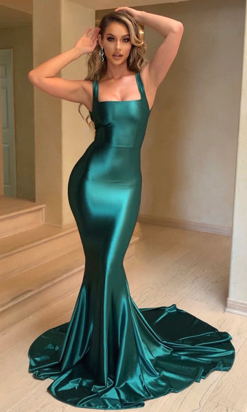 Adriana Mermaid Gown with Train- Emerald