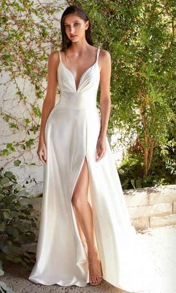 Satin A-line Gown- Off-White