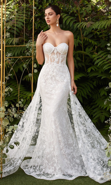 Appliqué Strapless Gown with Tulle Overskirt- Off-White