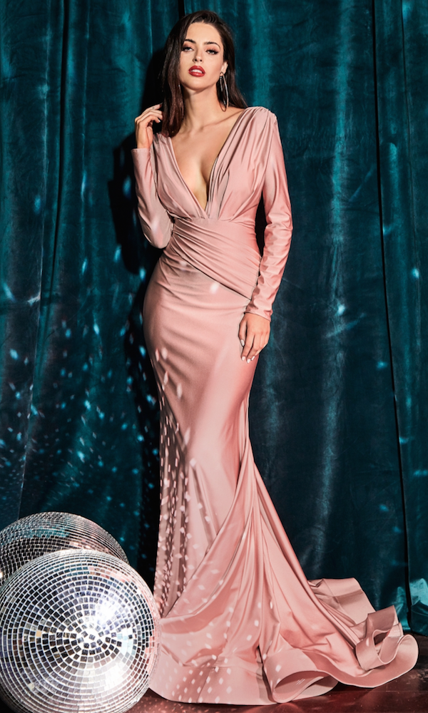 Long Sleeved Deep V Gown- Dusty Rose
