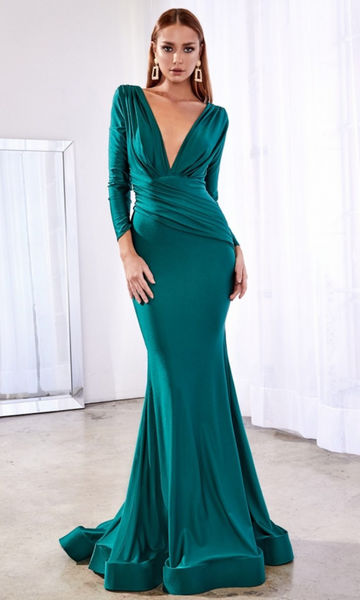 Long Sleeved Deep V Gown- Emerald
