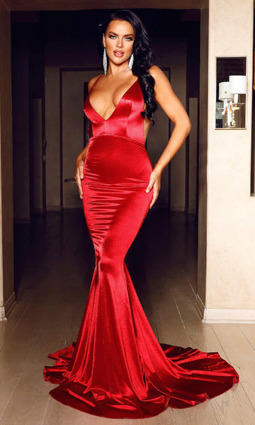 Milan Mermaid Satin Evening Gown-Lipstick Red