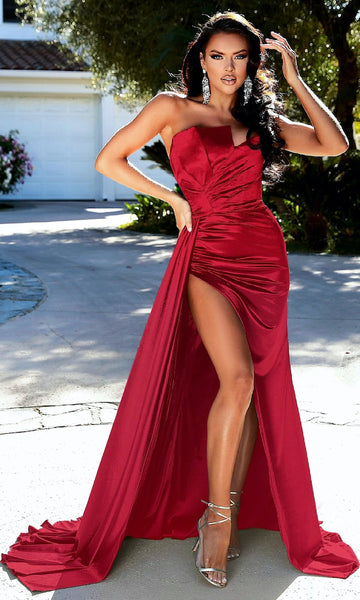 Morgan Strapless Gown w/ Sash- Deep Red