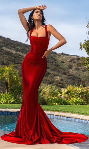 Adriana Mermaid Gown with Train- Lipstick Red