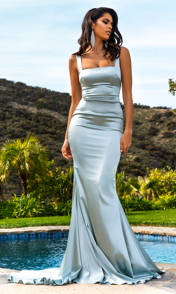 Audrey Square Neck Gown- Ice