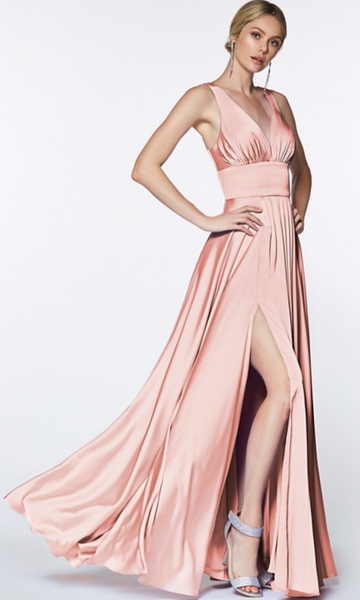 Cinderella Divine 'Audrey' Satin Evening Gown- Blush