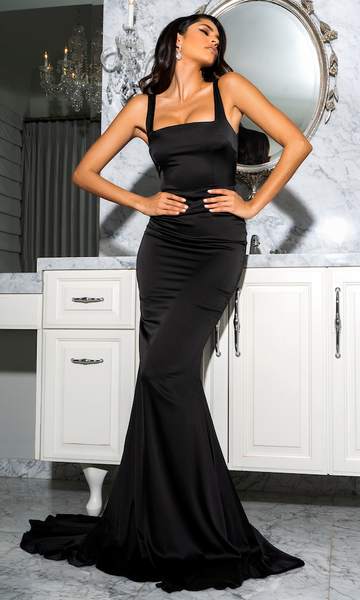 (PRE-ORDER) Giselle Mermaid Evening Gown- Black