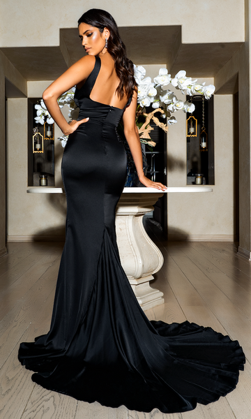 Giselle Mermaid Evening Gown- Black