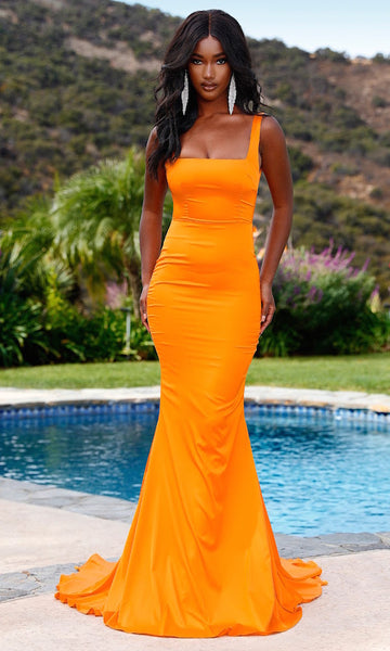 Giselle Square Neck Gown with Train- Electric Orange