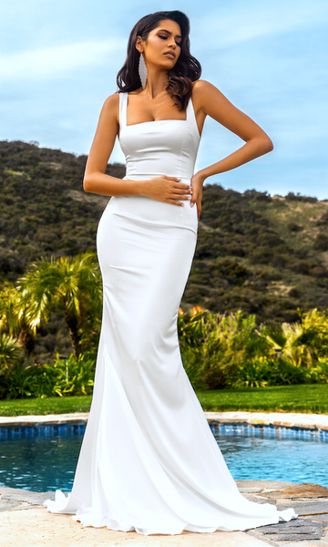 Giselle Mermaid Evening Gown- White