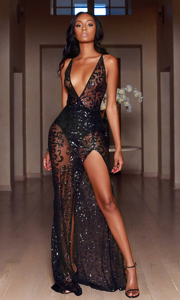 'Katya' Limited Edition Sheer Sequin Evening Gown