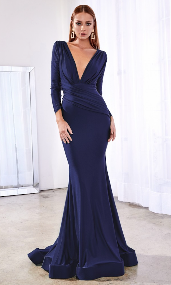 Long Sleeved Deep V Gown- Navy