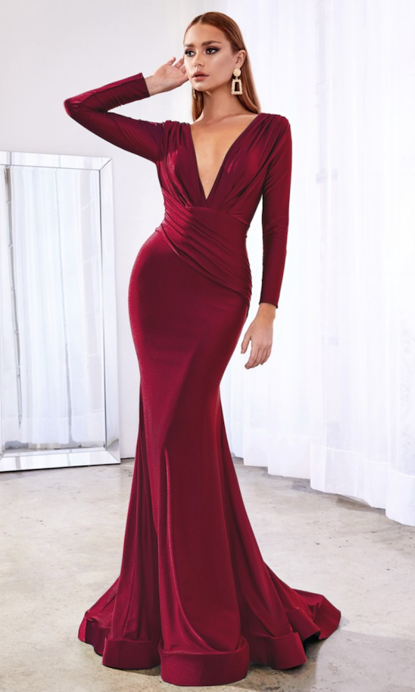 Long Sleeved Deep V Gown- Burgundy