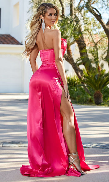 Monroe Strapless Gown w/ Side Sash- Barbie Pink