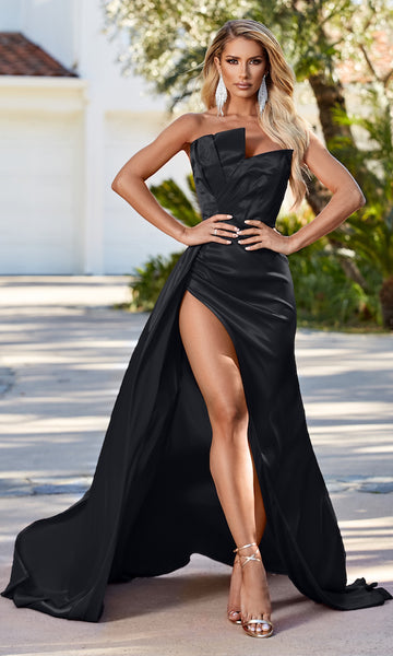 Monroe Strapless Gown w/ Side Sash- Black