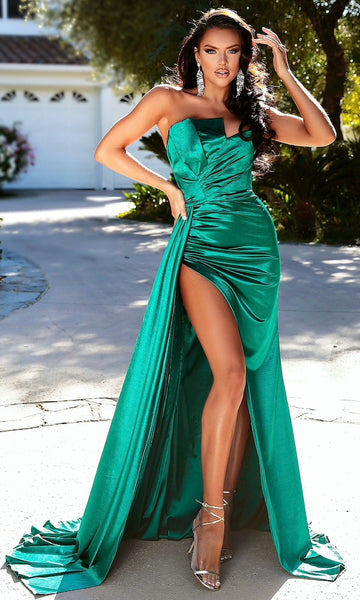 Morgan Strapless Gown w/ Sash- Emerald