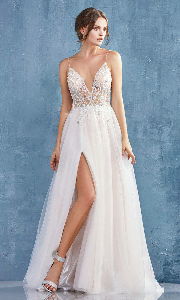 Andrea and Leo A0672 Beaded Tulle Gown- Ivory