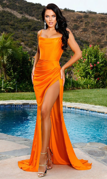 Penelope High Slit Corset Gown- Electric Orange