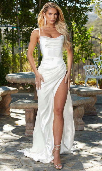 Penelope High Slit Corset Dress- White