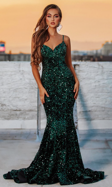 Portia & Scarlett Sequin Gown- Style PS21030- Emerald