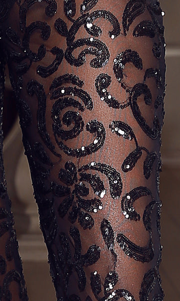 Sheer Sequin Pants- Black