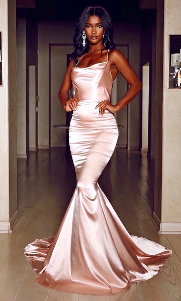 Serena Draped Neck Gown- Rose Gold