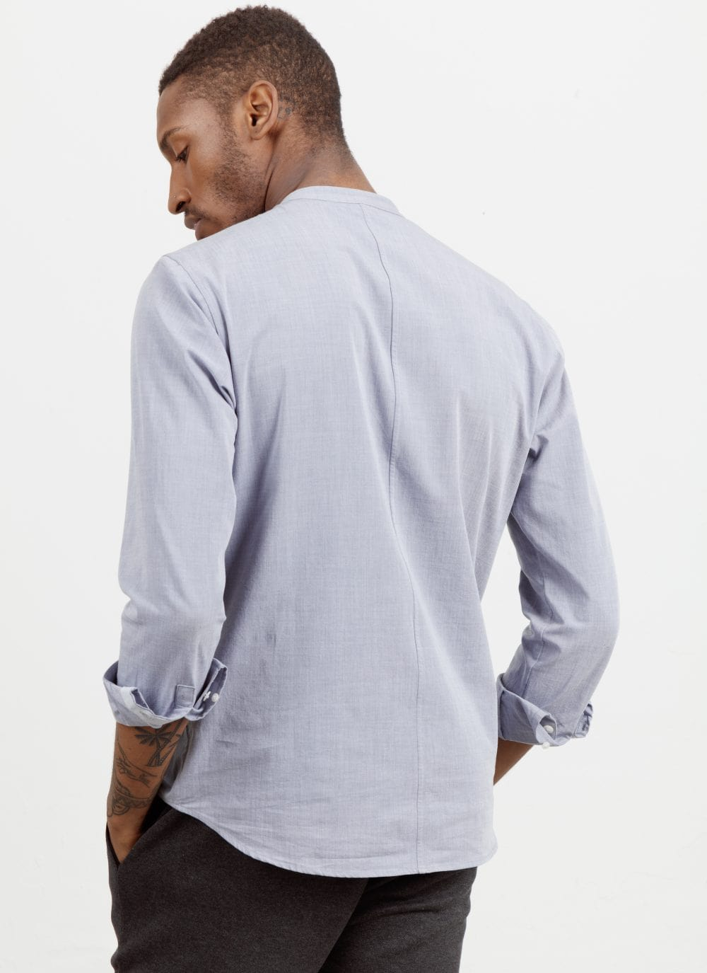 The All Day Shirt || Navy-Chambray | Collarless