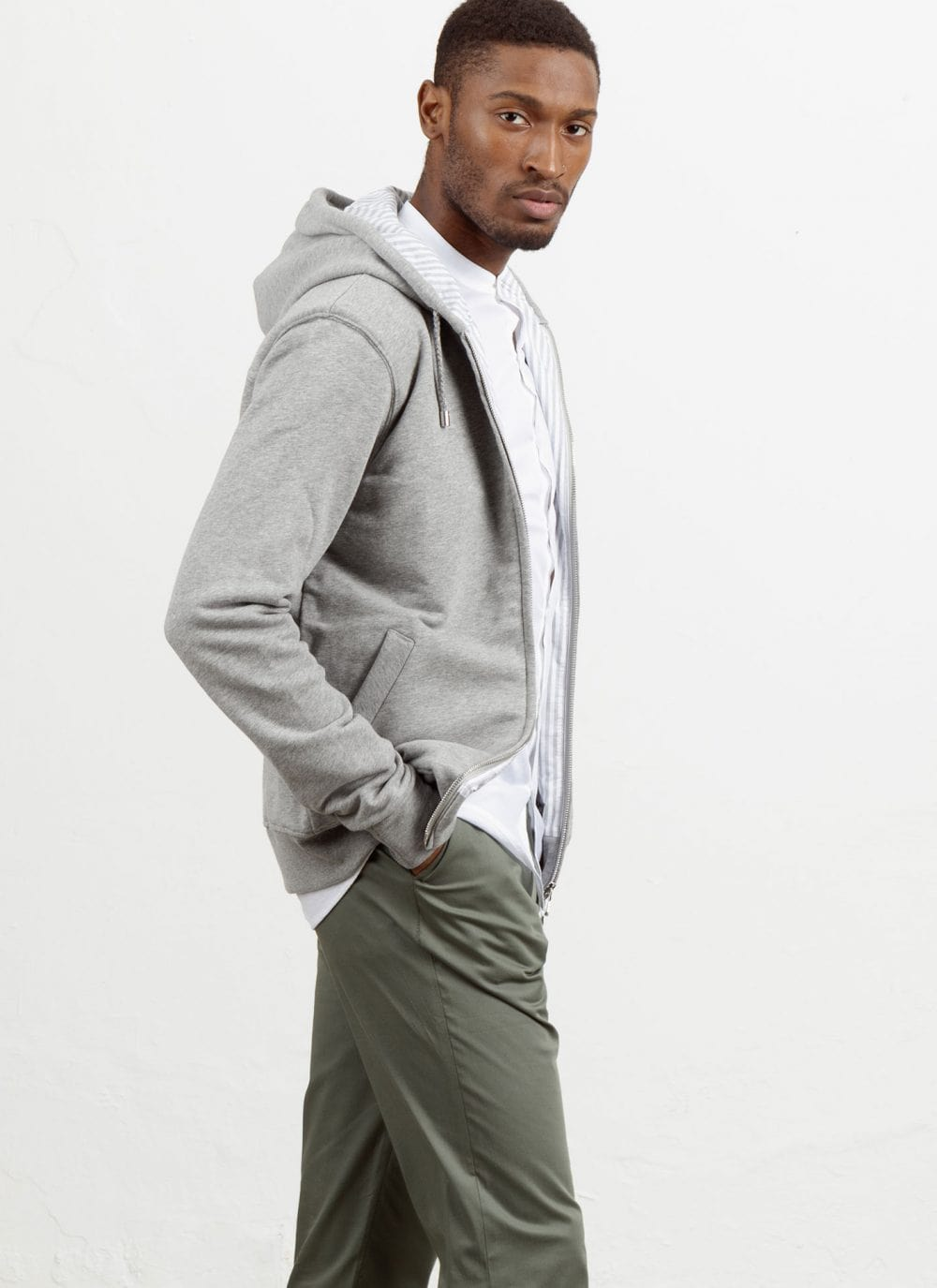 The Classic Hood || Grey-Marl | Marmi Stripe