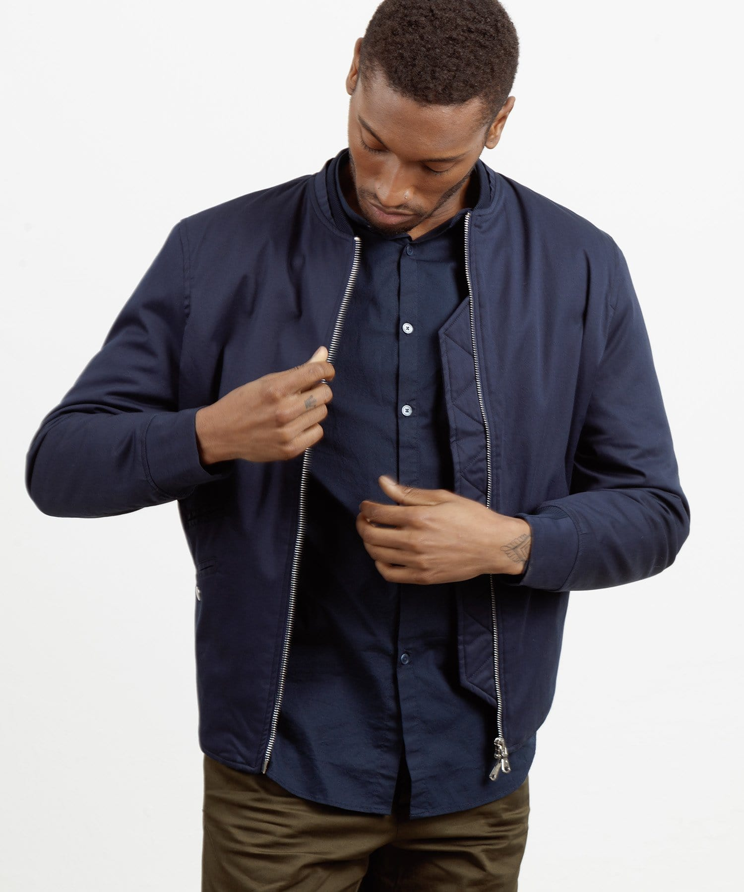 The Bomber || Navy | Satin Cotton