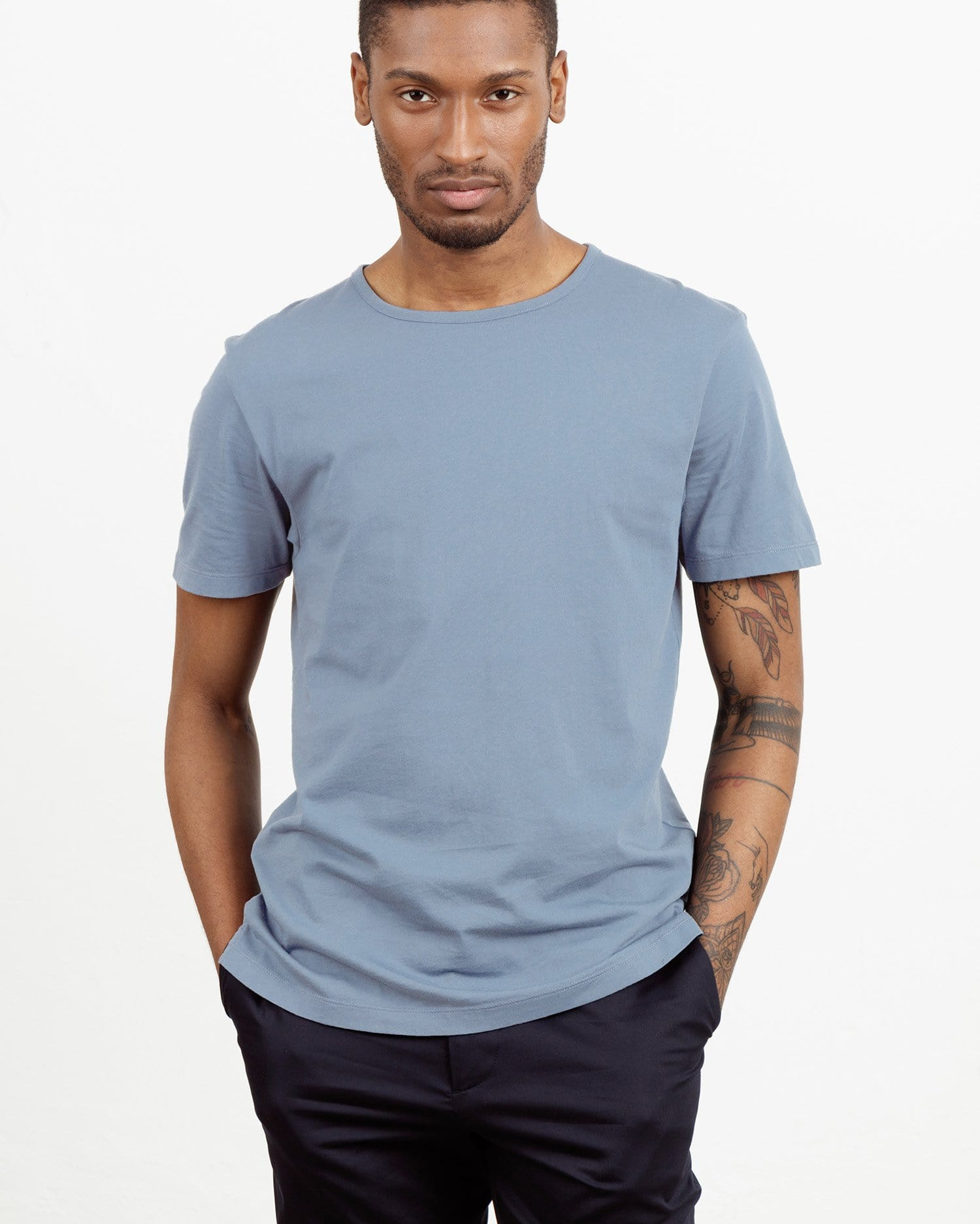 The Tailored Tee || Dusty-Blue | Supima Cotton
