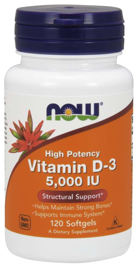 Vitamin D-3 5000IU 120 softgels  - Now Foods