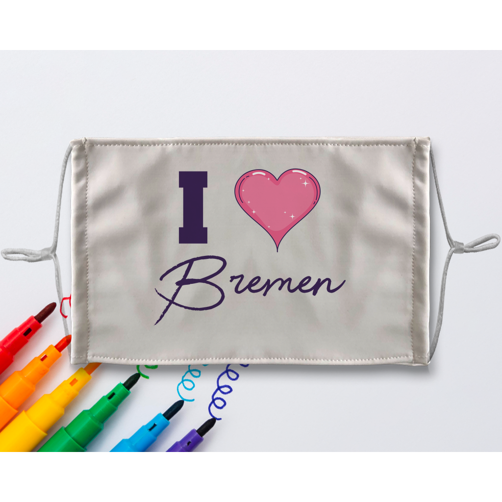 I love Bremen Sublimation Colouring Face Mask