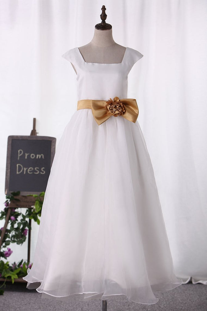 Organza Square Floor Length A Line Flower Girl