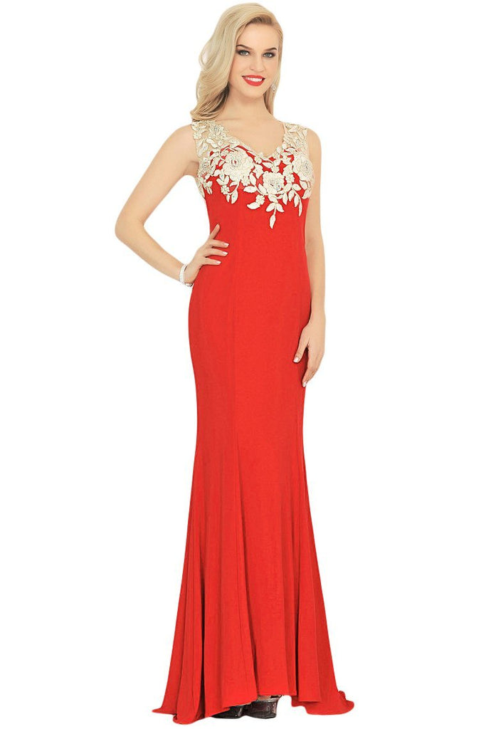 2019 Sexy V Neck Prom Dresses Mermaid Spandex With Appliques