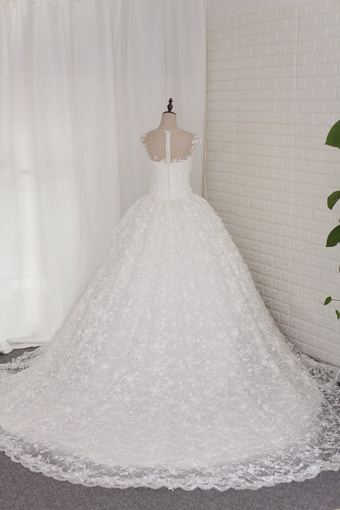 2019 Wedding Dresses Ball Gown Off-The-Shoulder Lace Cathedral