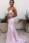 Mermaid Red Lace Backless V Neck Long Prom Dresses Cheap Evening Dresses