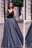 Gorgeous V-neck Black Satin Top Long A-line Tulle Prom Dresses